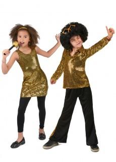 70er-Jahre-Paarkostüm für Kinder Disco Karneval schwarz-gold