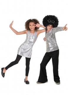 Disco-Paarkostüm für Kinder silber-schwarz