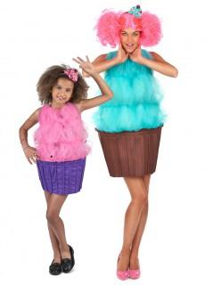 Cupcake-Paarkostüm für Mutter und Tochter Fasching bunt