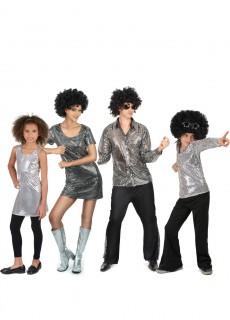 Disco-Familienkostüm Karneval silber
