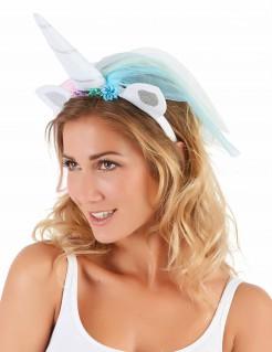 Einhorn-Haarreif mit Schleier weiss-blau-rosa