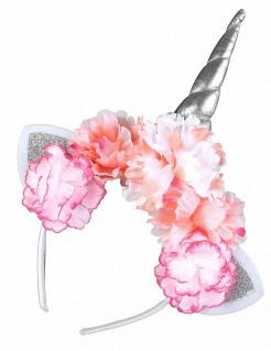 Einhorn-Haarreif mit Blüten silber-pink-orange