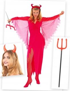 Heisse Teufelin Kostümset für Damen 3-teilig rot