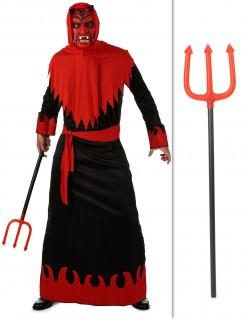 Teufel-Kostümset für Herren mit kurzem Dreizack rot-schwarz