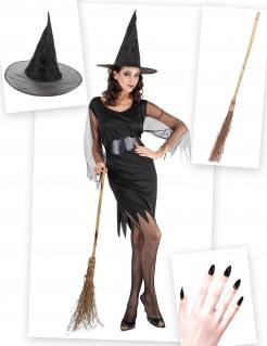 Bezaubernde Hexe Kostümset für Damen 4-teilig schwarz-braun