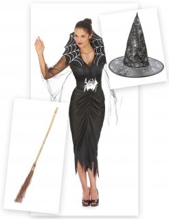 Enganliegendes Hexenkostüm Spinnenkönigin schwarz-silber