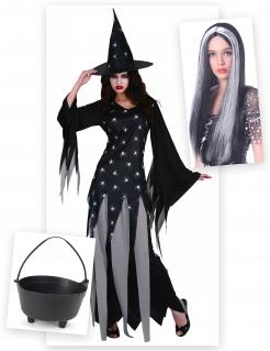 Sexy Zauberin Verkleidungs-Set für Halloween 3-teilig schwarz-grau-weiss