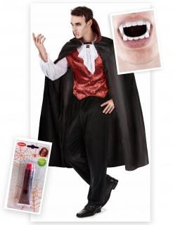 Vampirfürst-Kostümset Halloween-Herrenkostüm 7-teilig schwarz-rot-weiss