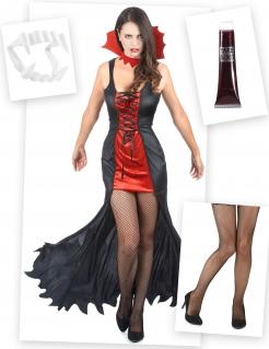 Vampir-Lady Kostüm-Set mit Zubehör für Halloween 4-teilig bunt