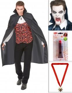 Vampirkostüm-Set für Herren Halloweenkostüm-Set 5-teilig schwarz-rot-weiss