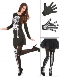 Skelett-Kostümset Halloween-Damenkostüm 5-teilig schwarz-weiss