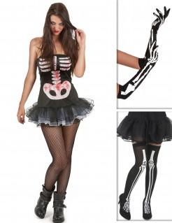 Heisse Skelettlady Verkleidungs-Set für Halloween 3-teilig schwarz-weiss