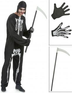 Sensenmann Kostüm-Set für Halloween 3-teilig schwarz-weiss