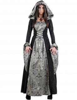 Gothic-Prinzessin Halloween-Damenkostüm schwarz-grau