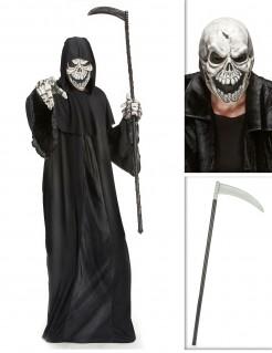 Schauriger Sensenmann Halloweenkostüm-Set mit Sense 3-teilig schwarz-weiss