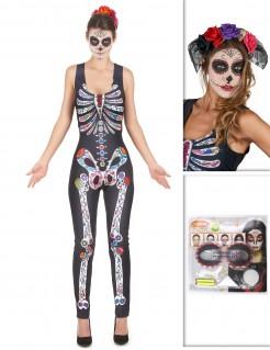 Tag der Toten Sugar Skull Halloween-Damenkostüm bunt