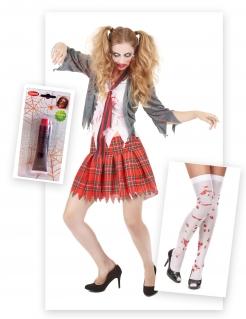 Zombieschülerin Halloween-Damenkostüm-Set 6-teilig rot-grau-weiss