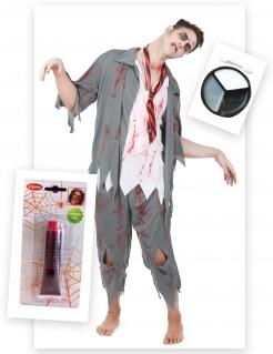 Blutiger Zombie-Schuljunge Halloween Herrenkostüm grau-weiss-rot