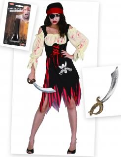 Blutige Zombie-Piratin Halloween Damenkostüm schwarz-rot