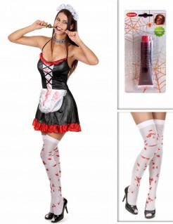 Untotes Dienstmädchen Kostüm-Set für Halloween 3-teilig schwarz-weiss-rot