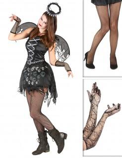 Dunkler Gothic-Engel Halloween-Damenkostüm 6-teilig schwarz-grau