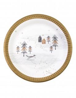 Winter-Teller Let it Snow Weihnachtstischdeko 8 Stück weiss-gold-grau 23cm