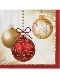 Günstige Christbaumkugeln.Weihnachtsservietten Weihnachtskugel Motiv 16 Stück Rot Gold 25x25cm