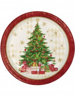 Weihnachtsbaum Pappteller Weihnachts-Tischdeko 8 Stück bunt 22cm