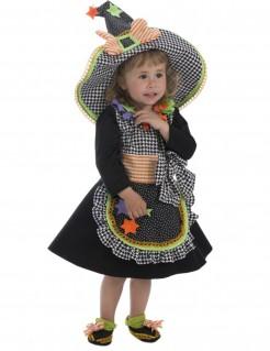 Klassisches Hexenkostüm für Kleinkinder Halloweenkostüm schwarz-bunt
