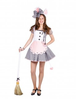 Mäusekostüm für Damen rosa-schwarz