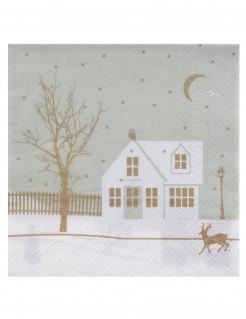 Winterliche Servietten Haus im Schnee Weihnachtsdeko 20 Stück weiss-grau-gold 33x33cm