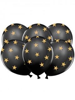 Latexballons mit Sternen 6 Stück schwarz-gold