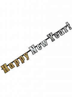 Silvester Partybanner Happy New Year silber-gold 142cm