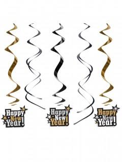 Silvester-Hängespiralen Happy New Year! 5 Stück silber-schwarz-weiss