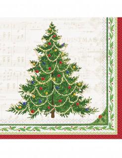 Weihnachtsbaum Servietten aus Papier 16 Stück weiss-grün-rot 33 x 33 cm