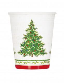 Weihnachtsbaum Pappbecher 8 Stück weiss-grün-rot 27 cl