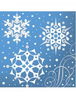 Weihnachts-Servietten mit Schneeflocken 16 Stück blau-weiss 33 x 33 cm
