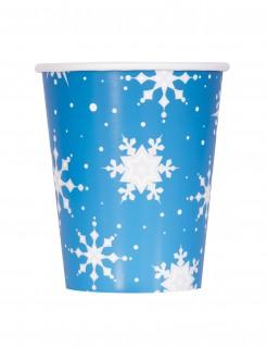 Winter-Pappbecher Schneeflocken-Motiv 8 Stück blau-weiss 270ml