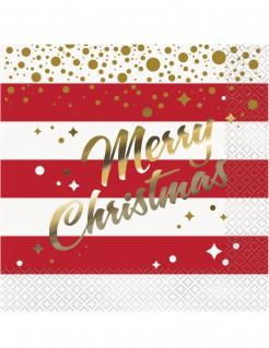 Weihnachts-Servietten Merry Christmas Tisch-Deko rot-weiss-gold 33x33cm