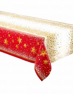 Weihnachts-Tischdecke aus Kunststoff rot-gold 137 x 213 cm