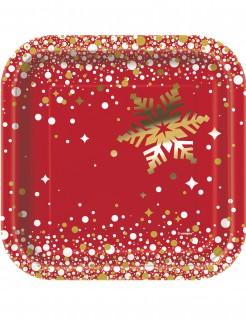 Quadratische Weihnachts-Pappteller 8 Stück rot-gold 18 cm