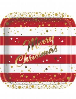 Weihnachts-Pappteller Merry Christmas Tischdeko 8 Stück rot-weiss-gold 23cm