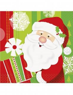 Kleine Servietten aus Papier mit Weihnachtsmann-Motiv 16 Stück bunt 25 x 25 cm
