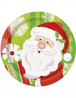 Kleine Weihnachts-Teller mit Nikolaus 8 Stück bunt 18 cm