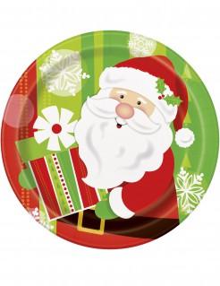 Weihnachtsmann Nikolaus Pappteller 8 Stück bunt 23 cm