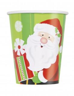 Weihnachtsmann Pappbecher aus Karton 8 Stück bunt 270 ml