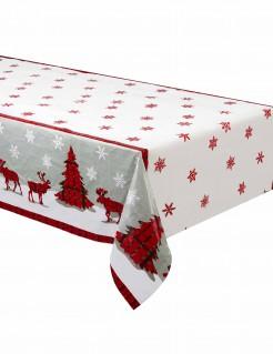 Weihnachts-Tischdecke aus Kunststoff bunt 137 x 213 cm