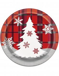 Weihnachtsbaum Pappteller 8 Stück rot-schwar-grau 18 cm