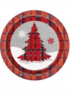 Weihnachtsbaum Pappteller 8 Stück rot-schwarz-grau 23 cm
