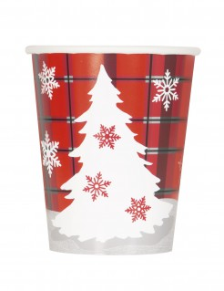 Weihnachtsbaum Pappbecher 8 Stück rot-grün-weiss 270 ml